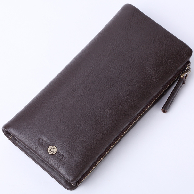 Business Csual Men Wallets Long Zipper Design Phone Purse Genuine Leather Men's Wallet Section Of The Multicard Clutch Male feidikabolo brand zipper men wallets with phone bag pu leather clutch wallet large capacity casual long business men s wallets