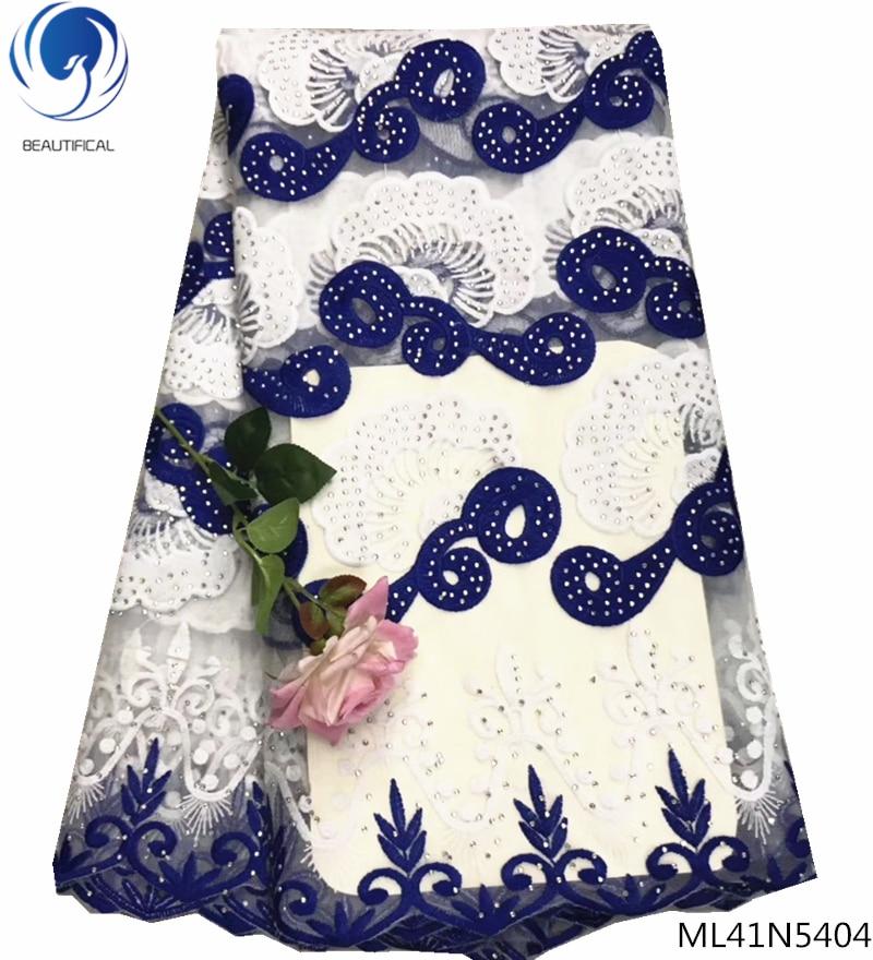 BEAUTIFICAL royal blue mesh lace fabric high quality nigerian net lace fabric rhinestones embroidered lace 2019 ML41N54BEAUTIFICAL royal blue mesh lace fabric high quality nigerian net lace fabric rhinestones embroidered lace 2019 ML41N54
