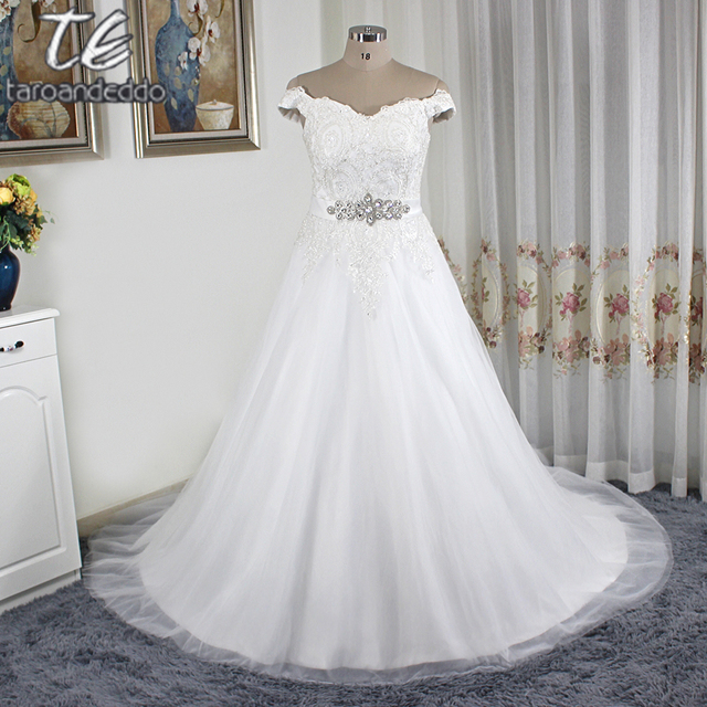 Off the Shoulder Silver Lace Applique Ball Gowns Plus Size Tulle ...