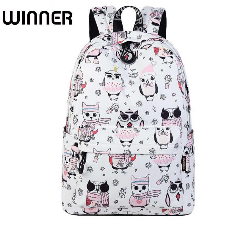 4c4b2b0568a9 Милый водостойкий женский рюкзак Сова Животный узор печать высокое качество  девушки ежедневно ноутбук рюкзак