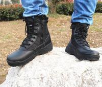2017 Nova Mens Botas Sapatos Botas Táticas Deserto Do Exército Caminhadas Ao Ar Livre Sapatos de Couro Botas De Homens Entusiastas Militares de Combate Marítimo