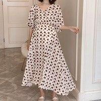 Summer Casual V neck Polka Dot Long Pregnant Dress Fashion Contrast Color Open Back Strap Maternity Dress For Pregnant Woman