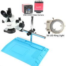 Microscopio Trinocular focal para reparación de soldadura, microscopio Trinocular industrial 7X 45X, VGA, HDMI, cámara de vídeo 720P, 13MP, para laboratorio de reparación de soldadura PCB de teléfono