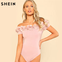 SHEIN Sexy Bodysuit Pink Short Sleeve Mid Waist Party Wear Skinny Bodysuit Flower Applique Off The
