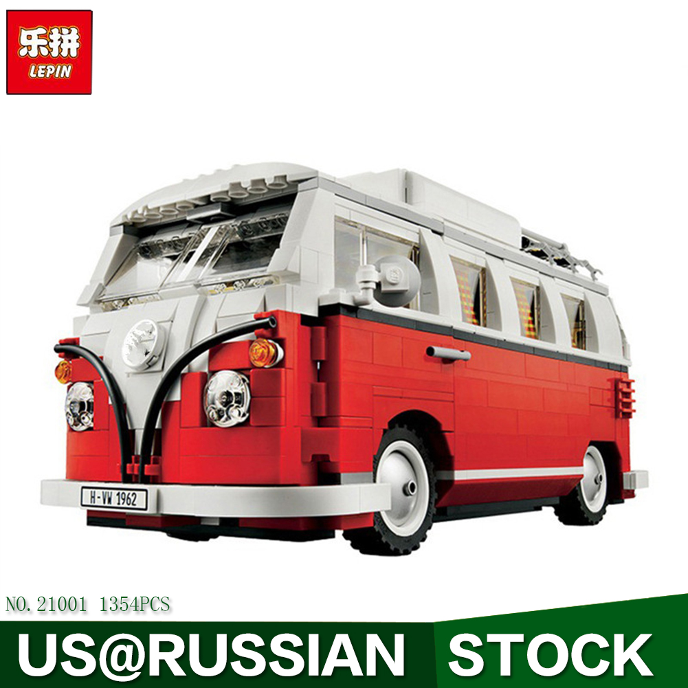 LEPIN 21001 1354Pcs Volkswagen T1 Camper Van Model Building Kits Bricks Toys Compatible Decool 3353 new lepin 20054 4237pcs creator camper van model building kits bricks toys compatible gifts 10220