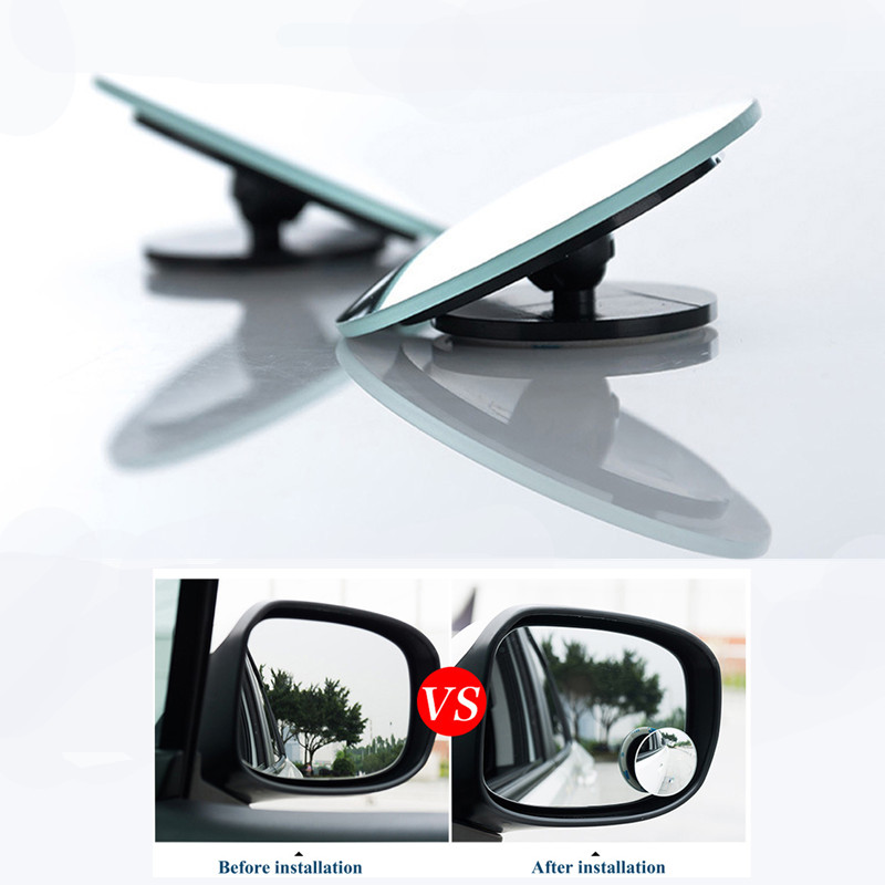 2pcs Car 360 Degree Blind Spot Mirror Wide Angle Round Convex Mirror Small Round Side Blindspot Rearview Parking Mirror