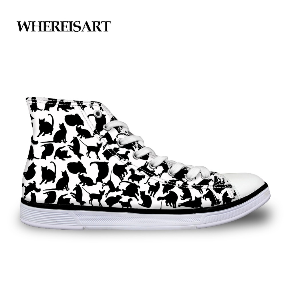 Whereisart Trendy Men Shoes Animals Black Cat Printing Sneakers High Top Man Casual Outdoor White Flats Shoes For School Boys Demand Exceeding Supply Men's Shoes