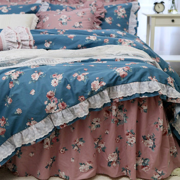 Top Romantic ruffle lace bedding set beautiful garden flower bedding bed set embroidery king bedding set cotton duvet cover set