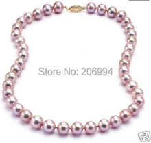 "wholesales 17""7-8MM Natural purple pearl necklace pearl Jewelry gift free shipping"