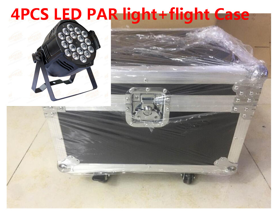 все цены на 4 X18x12 W LED Par Luces con flight case 1 Llevo la Luz de Par RGBW 4in1 LED Par DMX 6/8 Canales Led Flat Par LED de Lujo luces