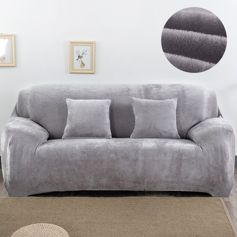 Plush Fabirc Sofa Cover 1 2 3 4 Seater Thick Slipcover