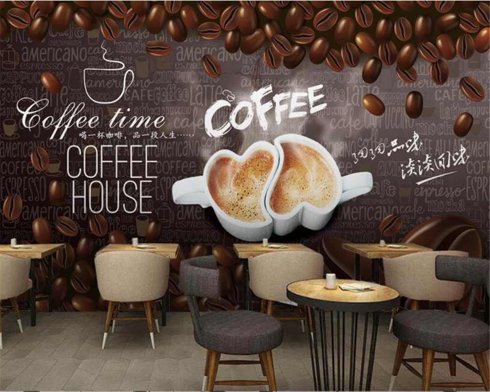 Beibehang wallpaper European style wooden handmade coffee ...