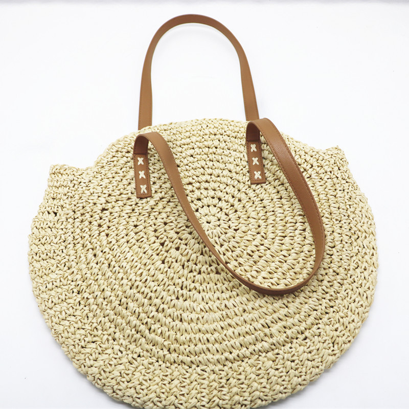REREKAXI Hand-woven Round Woman's Shoulder Bag Handbag Bohemian Summer Straw Beach Bag Travel Shopping Female Tote Wicker Bags 5