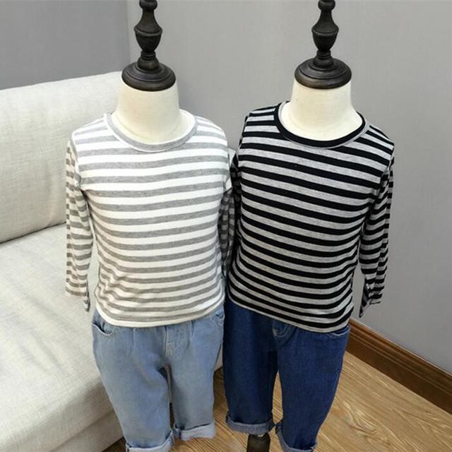 Diseñador de moda 2016 ropa para niños a rayas de manga larga Camisetas Niños niñas Camisetas tops