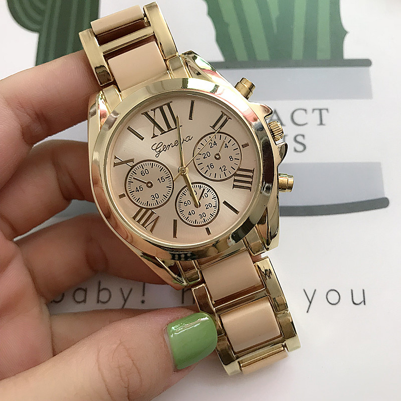 High Quality Quartz Movement Fashion Radiating Roman Numerals Big Dial Watch Multifunction Bracelet Watch For Woman 10 Colors