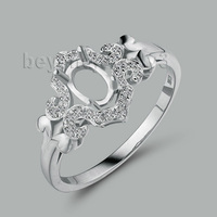 Unique Design Oval 4x6mm 18Kt White Gold Natural Diam Semi mount Engagement Ring WU256