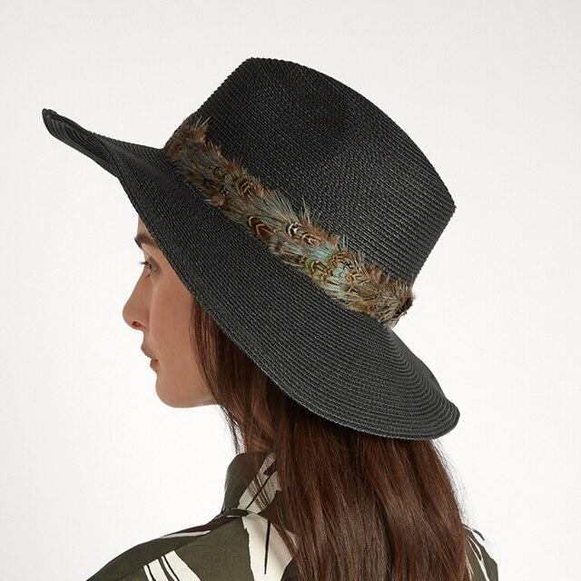 Moda mujer verano toquilla Plumas cinta Panamá Sol sombrero para señora elegante  Fedora Sol capo playa 0d015d27e19