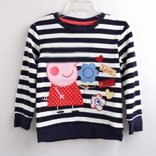 2018 Fashion Children Clothes For Girls T-shirt Striped Kids Tops Spring Long Sleeve  Girls t shirt Cotton Cartoon Flower Pig