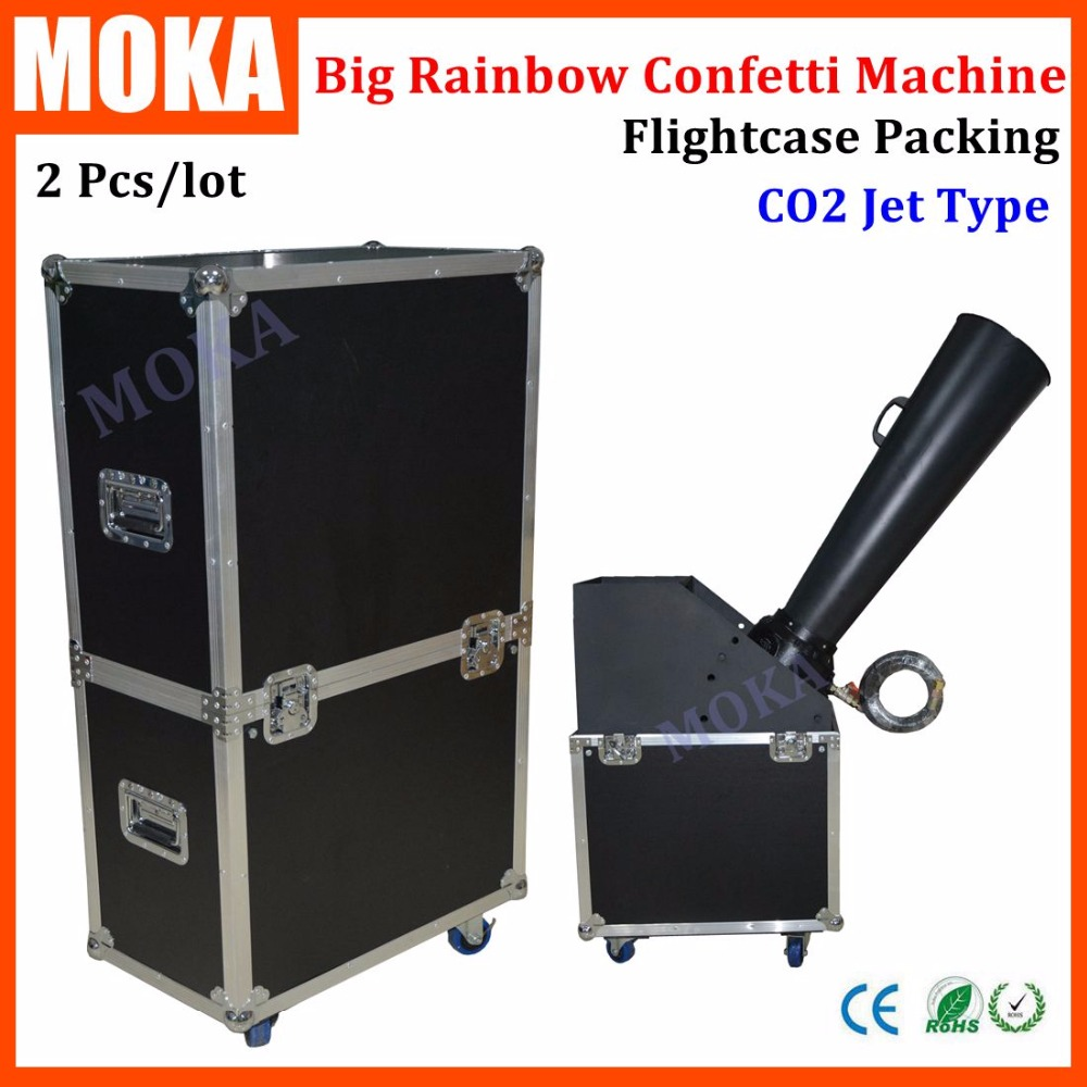 2 Pcs/lot CO2 jet confetti machine whirlwind rainbow paper confetti cannon flycase party events using dj stage effects equipment 4pcs lot party confetti mahcine party wedding cannon confetti cannon paper machine for stage dj disco effect equipment