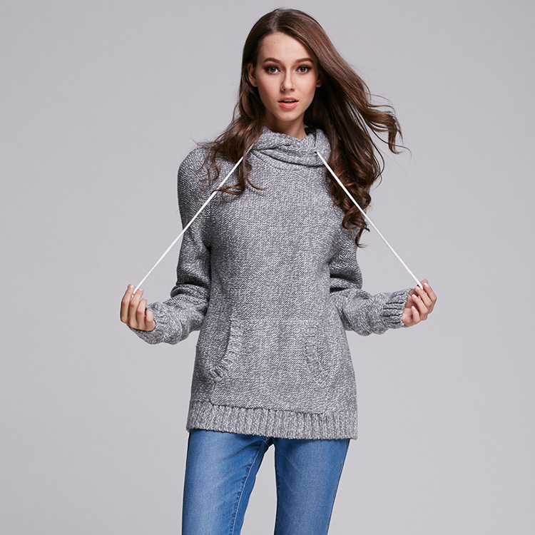 2016 new autumn winter british style hooded pockets loose oversize long pullovers wool knitted sweater women ladies christmas