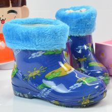 Rain boot waterproof 2016 children warm Crystal rain shoes and velvet water shoes boys and girls non-slip boots water shoes kids