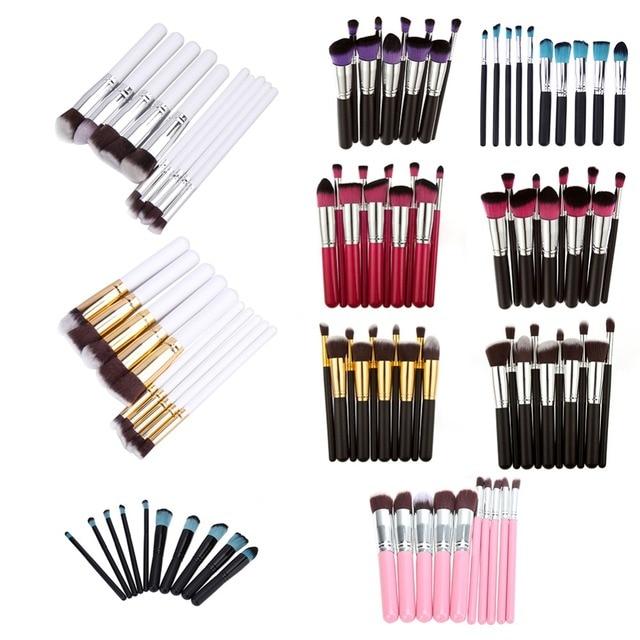 10 Pcs Professionnel Maquillage Pinceaux Make Up Poudre Brosses Maquillage Beauté Cosmétique Outils Kit de Fard À Paupières Pinceaux À Lèvres