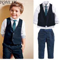 New Fashion Spring Autumn Baby Boy Suit 2018 Children Long Sleeve Shirt + Vest + Trousers Gentleman Handsome Kids Clothes W186