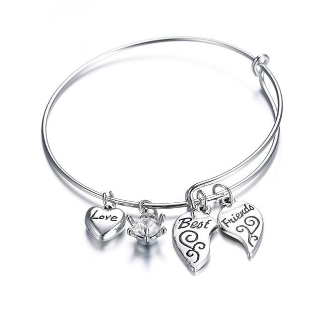 Expandable Best Friends Love Heart Cable Bracelet Bangles Women