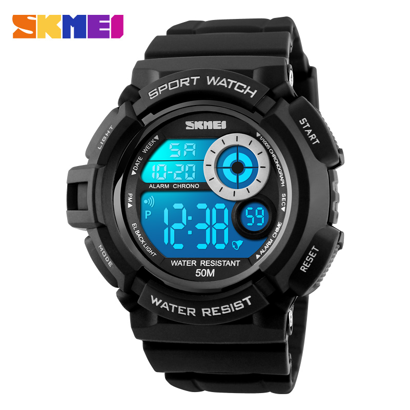 SKMEI Brand 1222 Men Sport Digital Watch LED Display Outdoor Military Watches Shock Resistant Chronograph Alarm