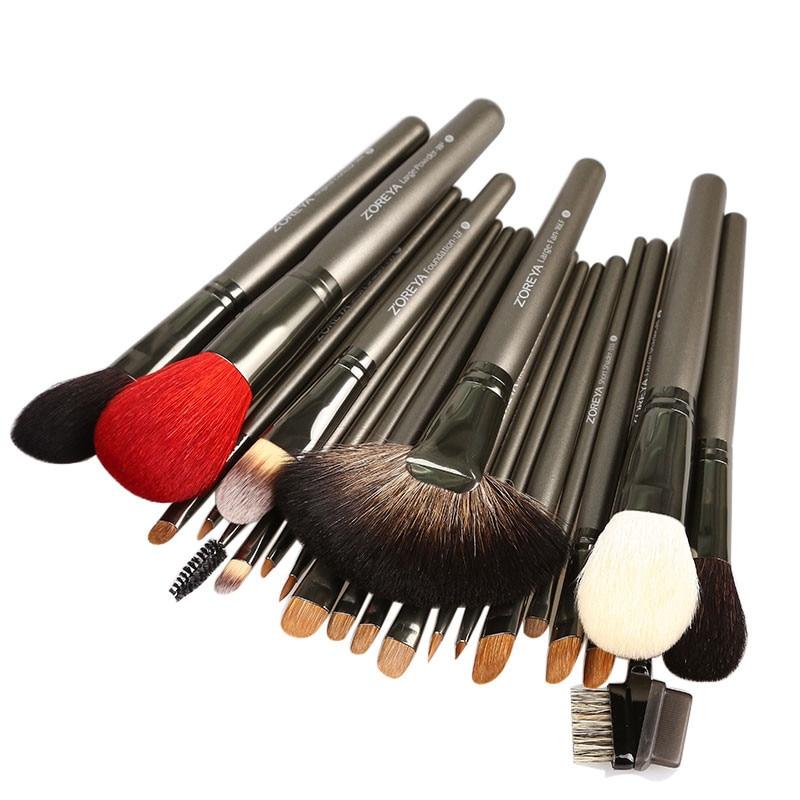 ZOREYA 26 шт., набор профессиональных кистей для макияжа, роскошные натуральные козьи волосы, веер, косметический набор кистей для макияжа, красивые кисти для теней - 3