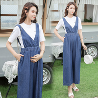 1985 Wide Leg Loose Thin Denim Patchwork Maternity Jumpsuits Summer Fashion Overall Pants for Pregnant Women Pregnancy Bib Jeans