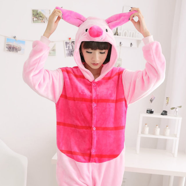 d259241cb544 Free Shipping Girls Animal Suits Women Piglet Pig Cosplay Costume Onesies  Winter Warm Pyjamas Pajamas Sleepwear Party Wear