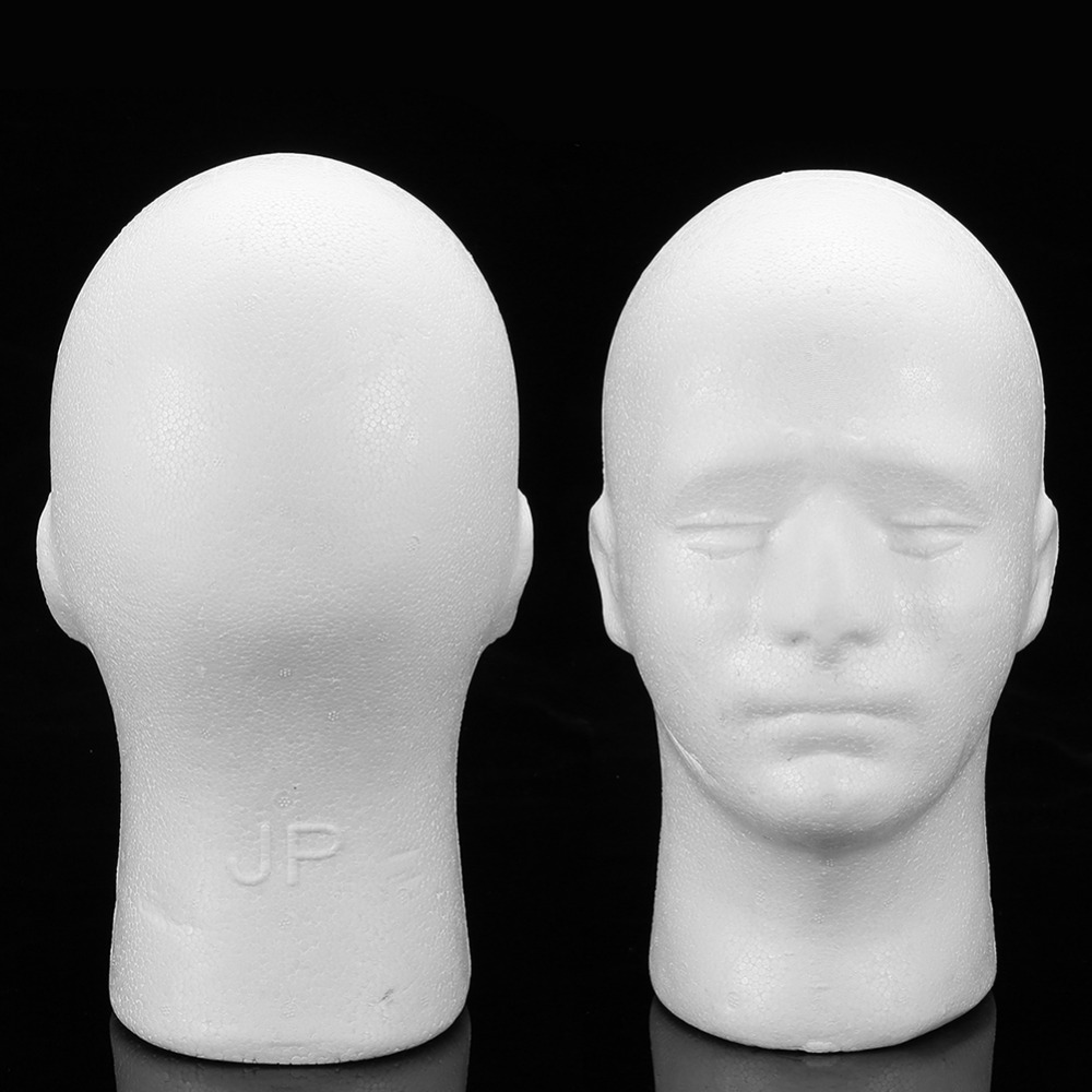 Analytical 1 Pc White Foam Mannequin Head Model Male Hats Cap Glasses Headphone Display Wigs Styling White Foam Doll Head Model Stand Male