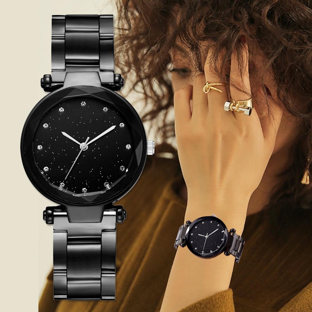eb0ecbd6 2019 для женщин сталь часы черный браслет часы дамы повседневное кварцевые  нержавеющая сталь Группа мраморный ремешок платье часы Relogio Feminino