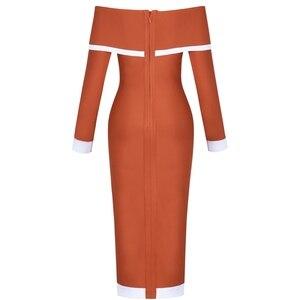 Image 5 - 鹿の女性の包帯ドレス 2019 新着女性オフショルダー包帯ドレス長袖ボディコンミディドレス包帯パーティーセクシーな