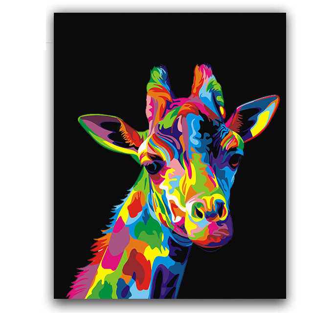 Colorful giraffe Picture painting by numbers animals handwmade with  kits on canvas drawing  for coloring