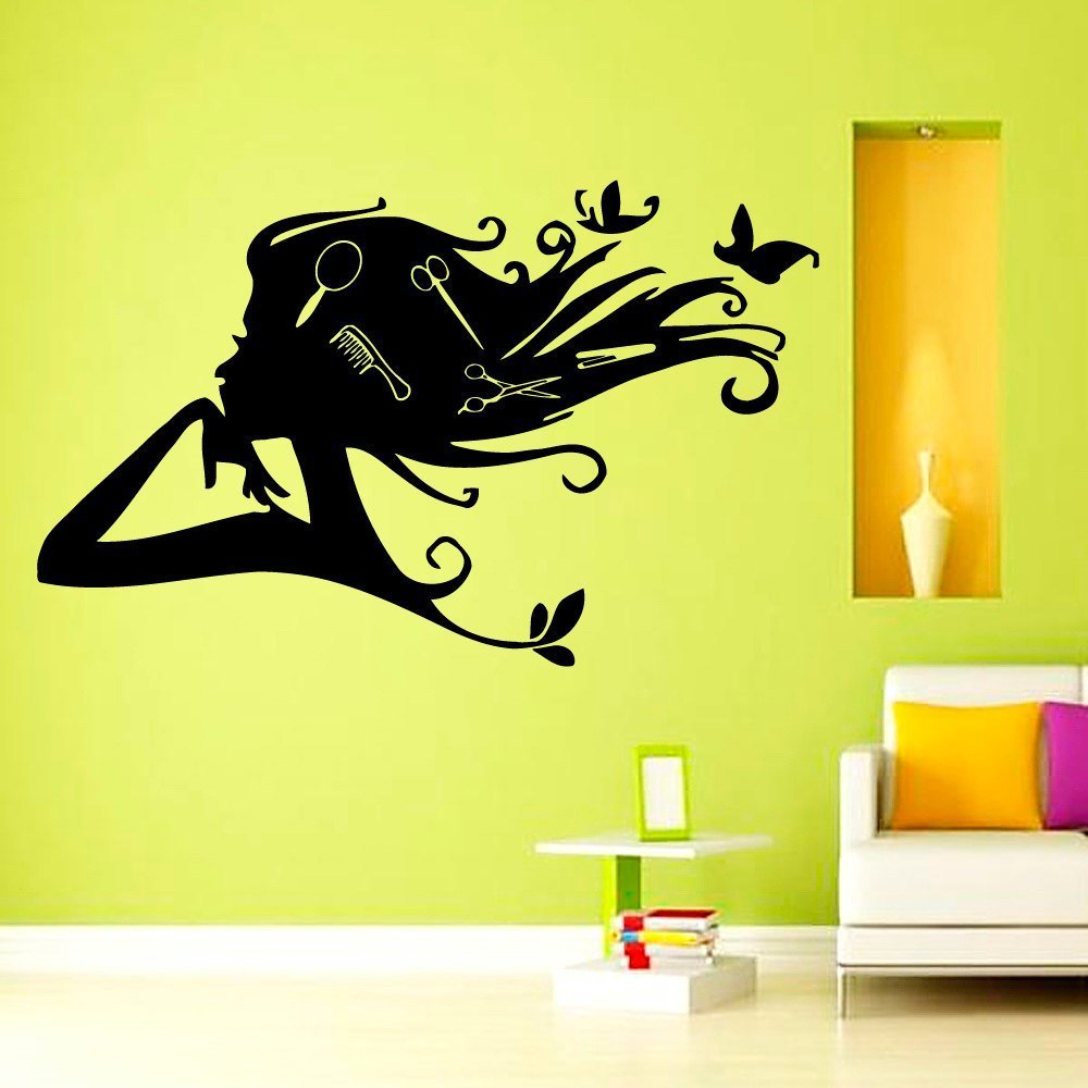 Hair Salon Wall Vinyl Decal Girl with Butterfly Combs in Hair Beauty ...