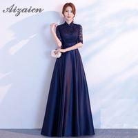 Navy Blue Chinese Evening Dress Qipao Dress Floral Cheongsams 2018 Summer Traditional Modern Cheongsam Wedding Dress Women Long