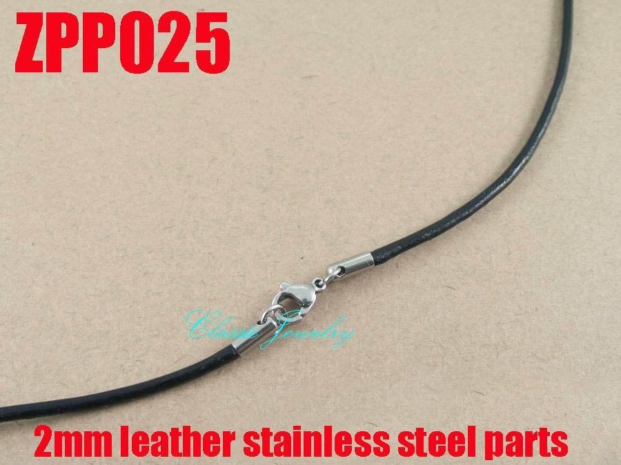 (16 -38) 20 pcs 2mm noir en cuir véritable collier en acier inoxydable  accessoires bijoux DIY pièces ZPP025 07ea665b538e