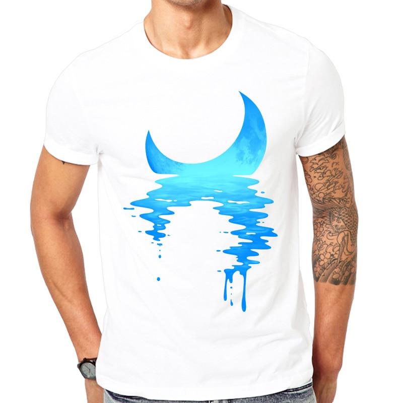 2017 Novelty design t-shirt man Short sleeve fashion summer printing Casual o-neck Men T-shirt Moonlight Cool design