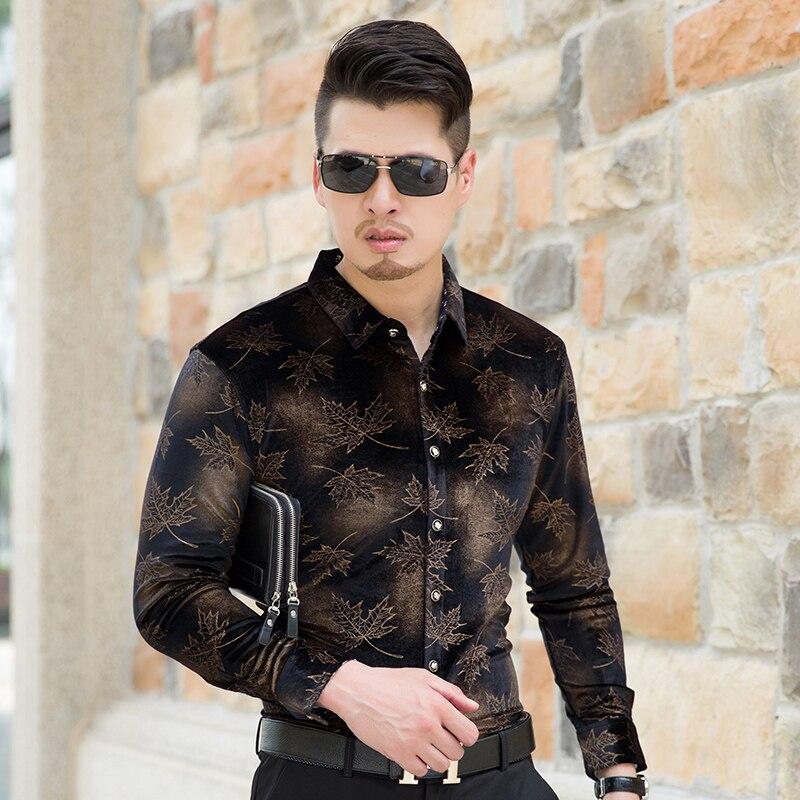 High Quality Autumn Mens Fashion Printing Pattern Long Sleeve Gold Velvet Dress Shirt