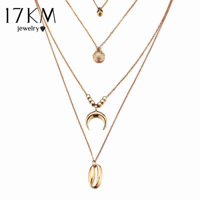 17KM Bohemian Moon Shell Map Beads Multi layer Necklaces 2019 For Women Y Gold Sliver Fashion Necklaces & Pendants Ocean Jewelry