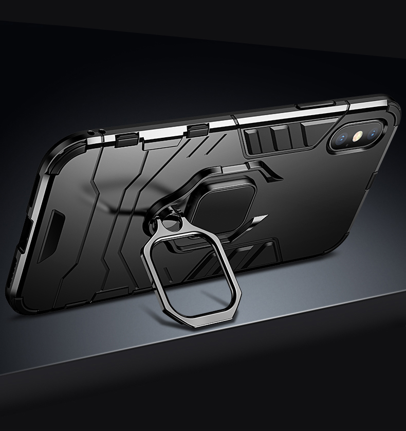 Luxury Armor Shockproof  Kickstand Phone Case For iPhone XS MAX XR XS X 8 7 6S Plus 5S SE Ring Stand Holder Bracket  Cover Funda (12)