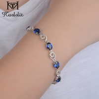 Kuololit Luxury Blue Sapphire Gemstone Bracelets For Women Solid 925 Sterling Silver Jewelry Romantic Wedding Engagement Gift