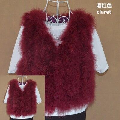 Новинка, женский жилет из натурального меха страуса, меховое пальто из страуса, Меховая куртка, много цветов,, низкая цена, F1092 - Цвет: wine red