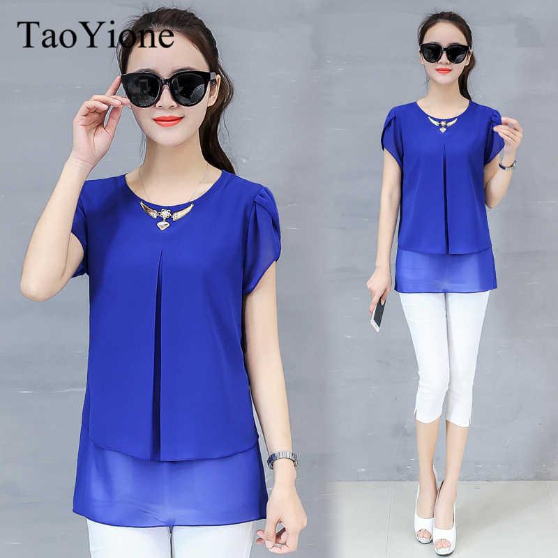 ab1b2ff1f081 Blusa de gasa mujer Casual Tops más tamaño 2019 verano cuello redondo  Camisas Mujer moda elegante Blusas Mujer Oficina señoras Blusas