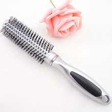 Серебряная круглая расческа для волос гребень для укладки круглая щетка парикмахерский инструмент для салона/дома