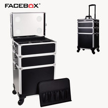 5 in 1 Professional Trolley Makeup Nail Box with removerable Tray Beauty Case with wheels and mirror for makeup artist(China)
