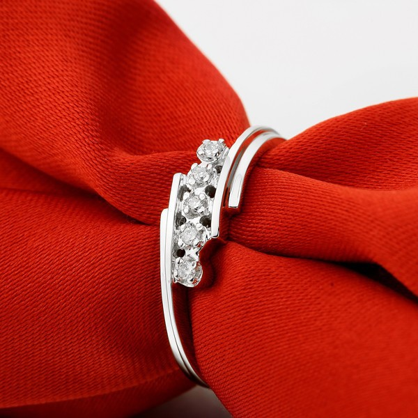 Natural Ring Diamond for Women 0.05CT SI / H Diamond Solid 18K White Gold Wedding band E ...