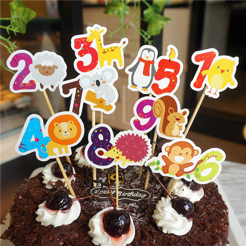 1pcs Birthday New Year Party Decoration Supplies Cute Numbers Animal Baby Shower Cake Topper Circus Theme Cupcake Toppers In Decorating